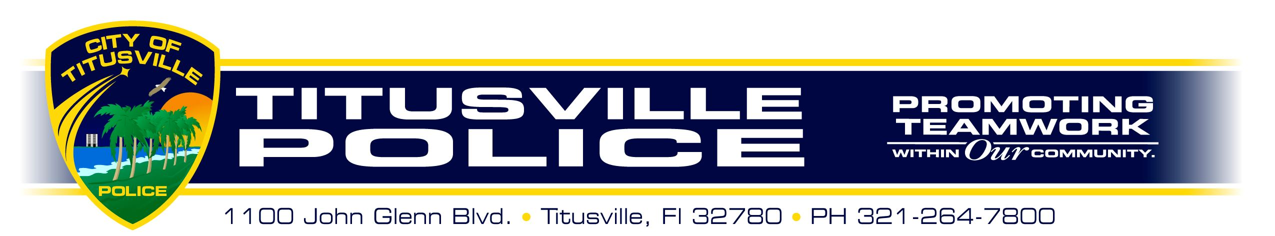Titusville Police Promoting Teamwork Within Our Community. 1100 John Glenn Blvd. Titusville, FL 32780. 321-264-7800.